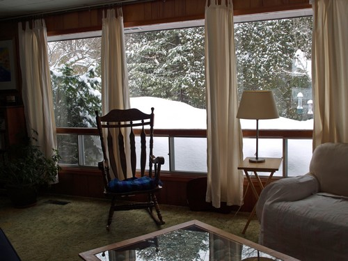 Look how high the snow is just outside the window!
