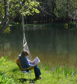 Reading by the water
